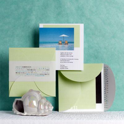 Love the modern envelope and vellum band The Pocket Wedding Invitation