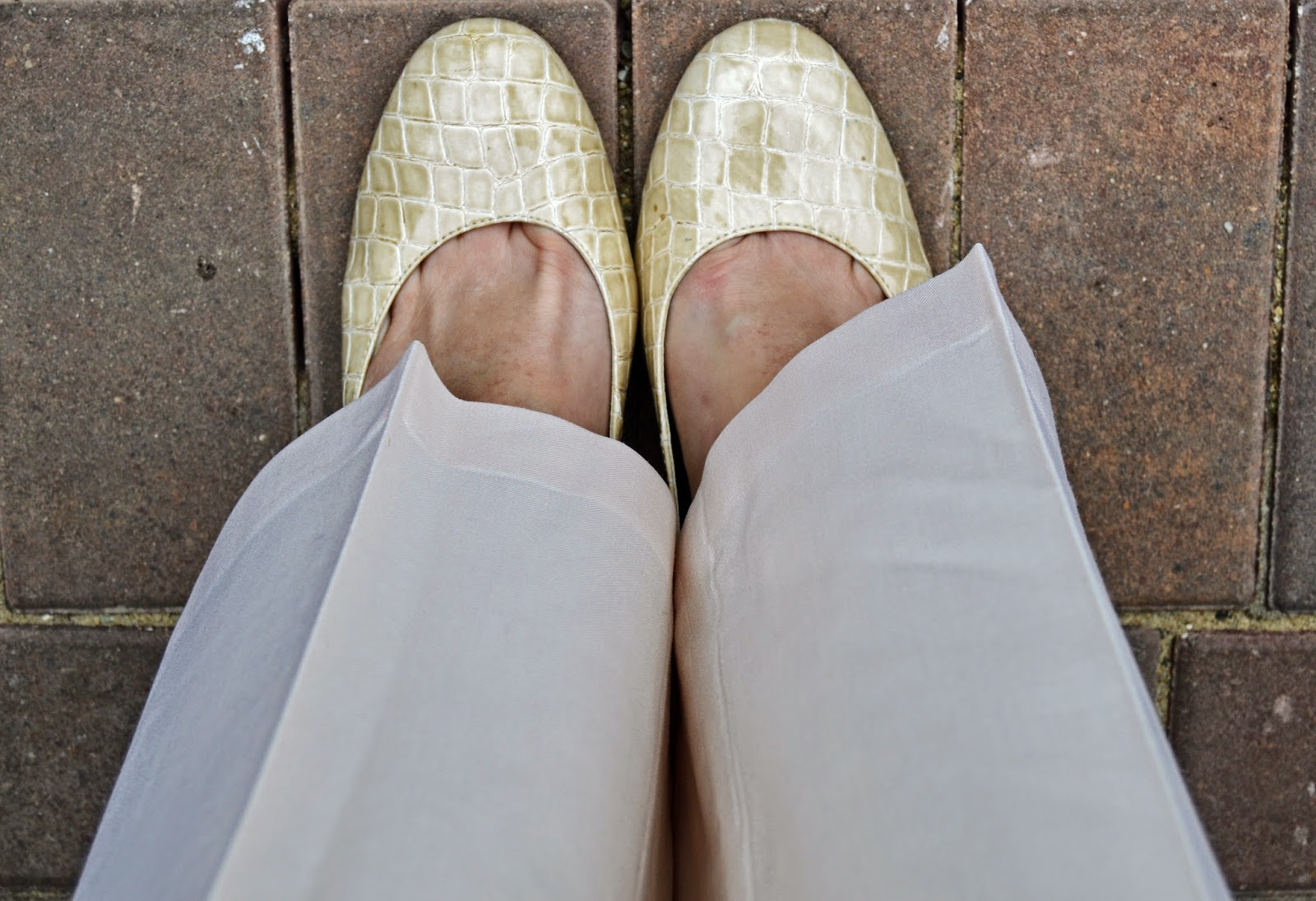 Cream Croc Print Shoes: Sam & Libby