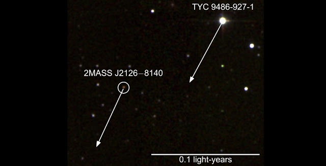 False colour infrared image of TYC 9486-927-1 and 2MASS J2126-8140, with arrows showing their motion on the sky over the next 1,000 years. The scale is given in Astronomical Units (AU), the average Earth-Sun distance. For comparison, Pluto has an average distance of only 39 AU. Credit: Two Micron All Sky Survey (2MASS)/Simon Murphy (ANU)