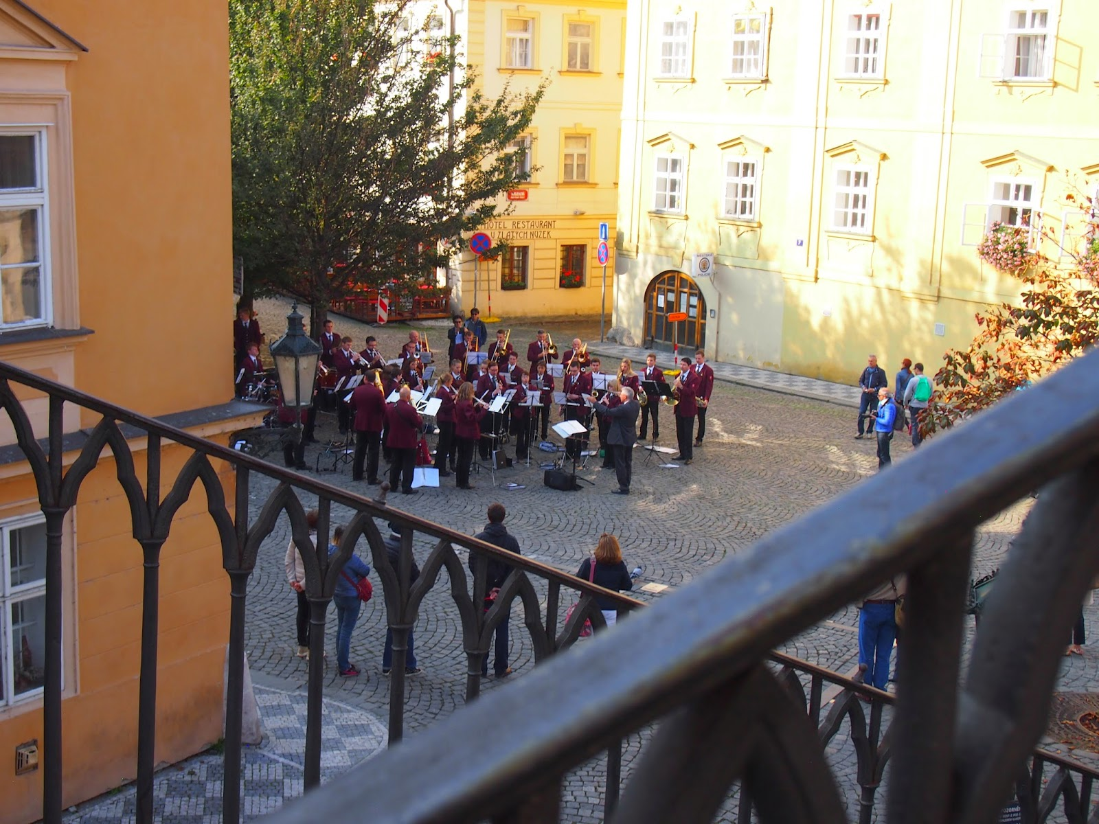 A view of a marching band from the Charles Bridge
