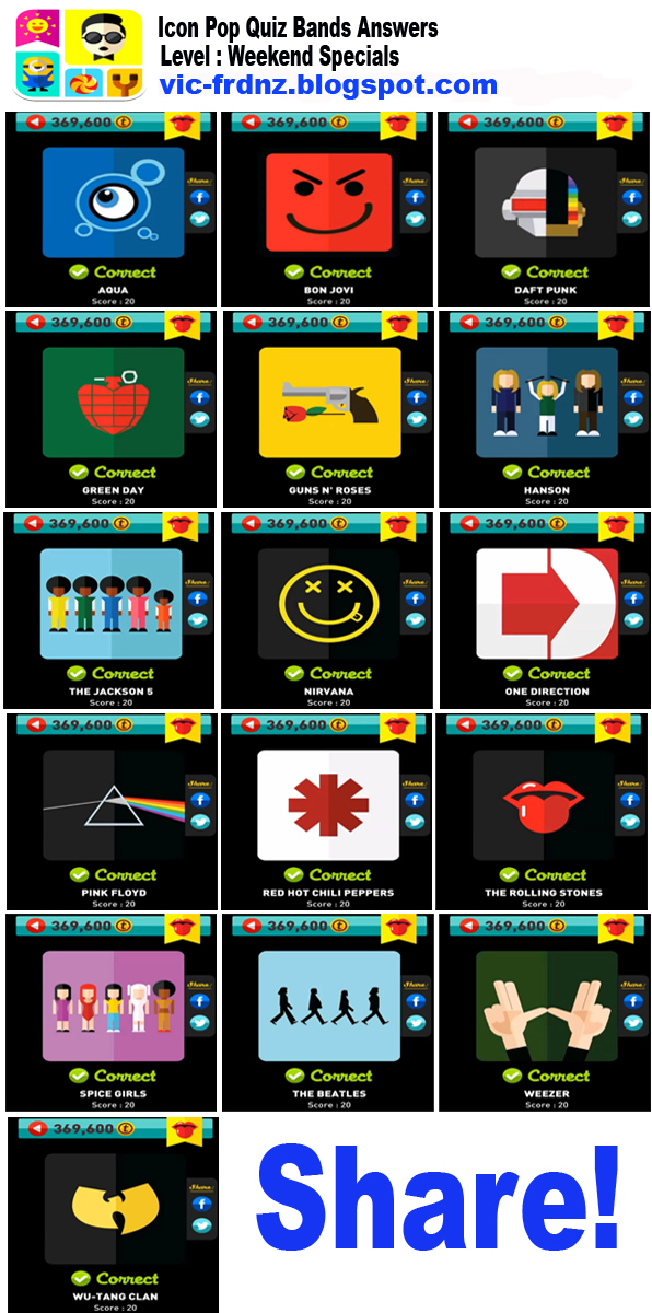 Icon Pop Quiz Bands Answers Weekend Specials