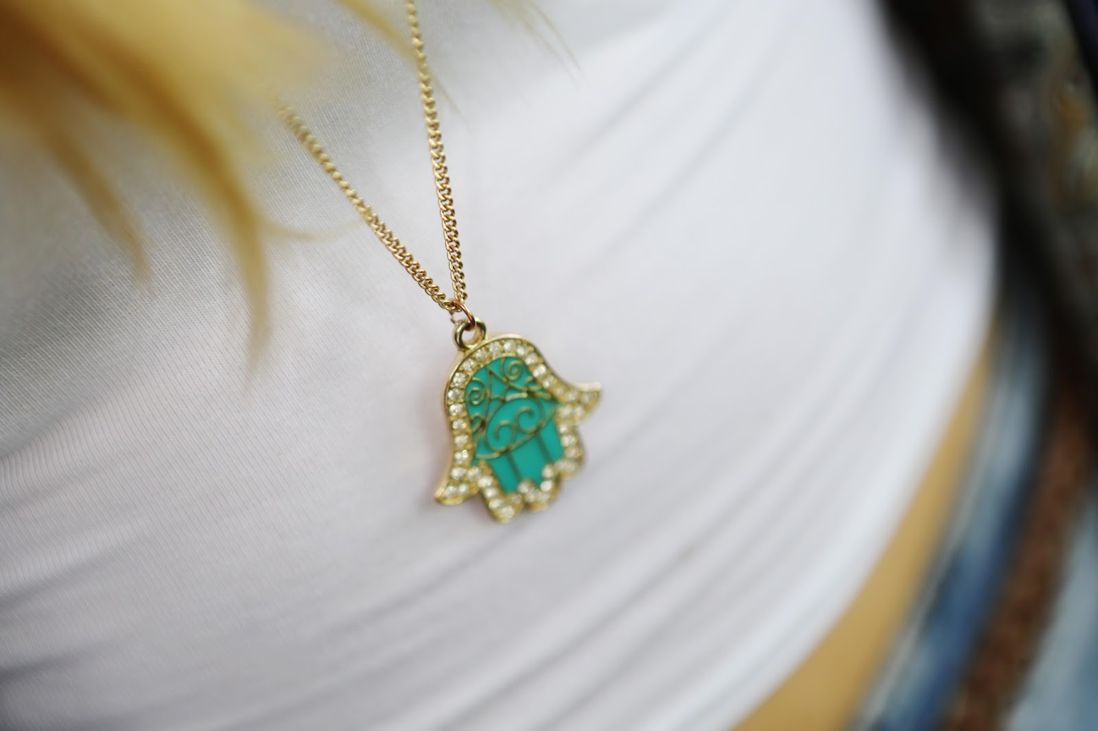 Mint Green Hamsa Hand Necklace