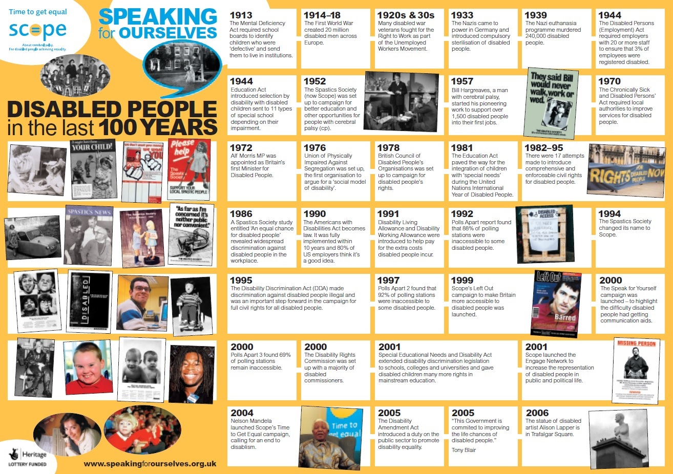 this poster was published by scope in 2006 as part of their speaking for ourselves history project it charts some key events in their own organsiations