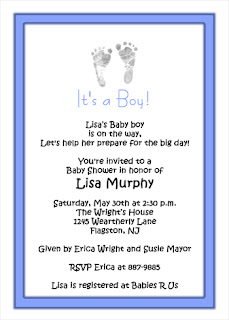 Feet Print Baby Boy Baby Shower Invitations