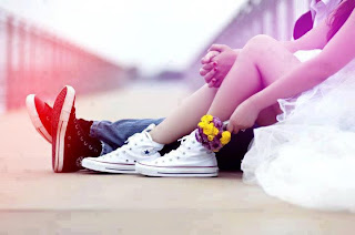 couple with red and white sneakers cover photo for facebook