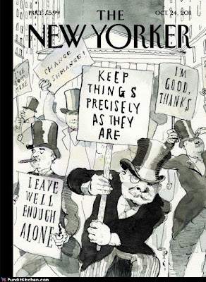 New Yorker cover pictures millionaires picketing the Wall street protestors