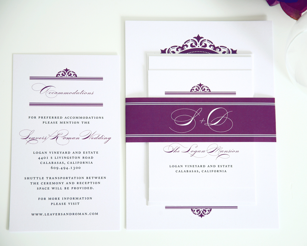 Beach Wedding Invitations Purple Wedding Invitations