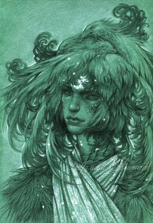 05-Nestlings-Night-Olga-Anwaraidd-Drawings-Fantasy-Portraits-Imaginary-Characters-www-designstack-co