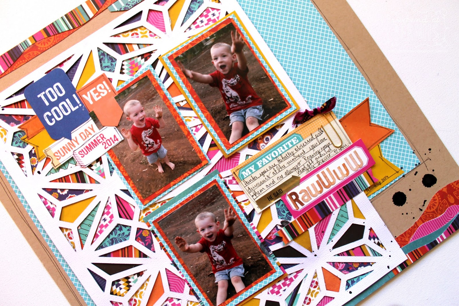 Rawwww Scrapbook layout by Bernii Miller using Basic Grey and Elles Studio