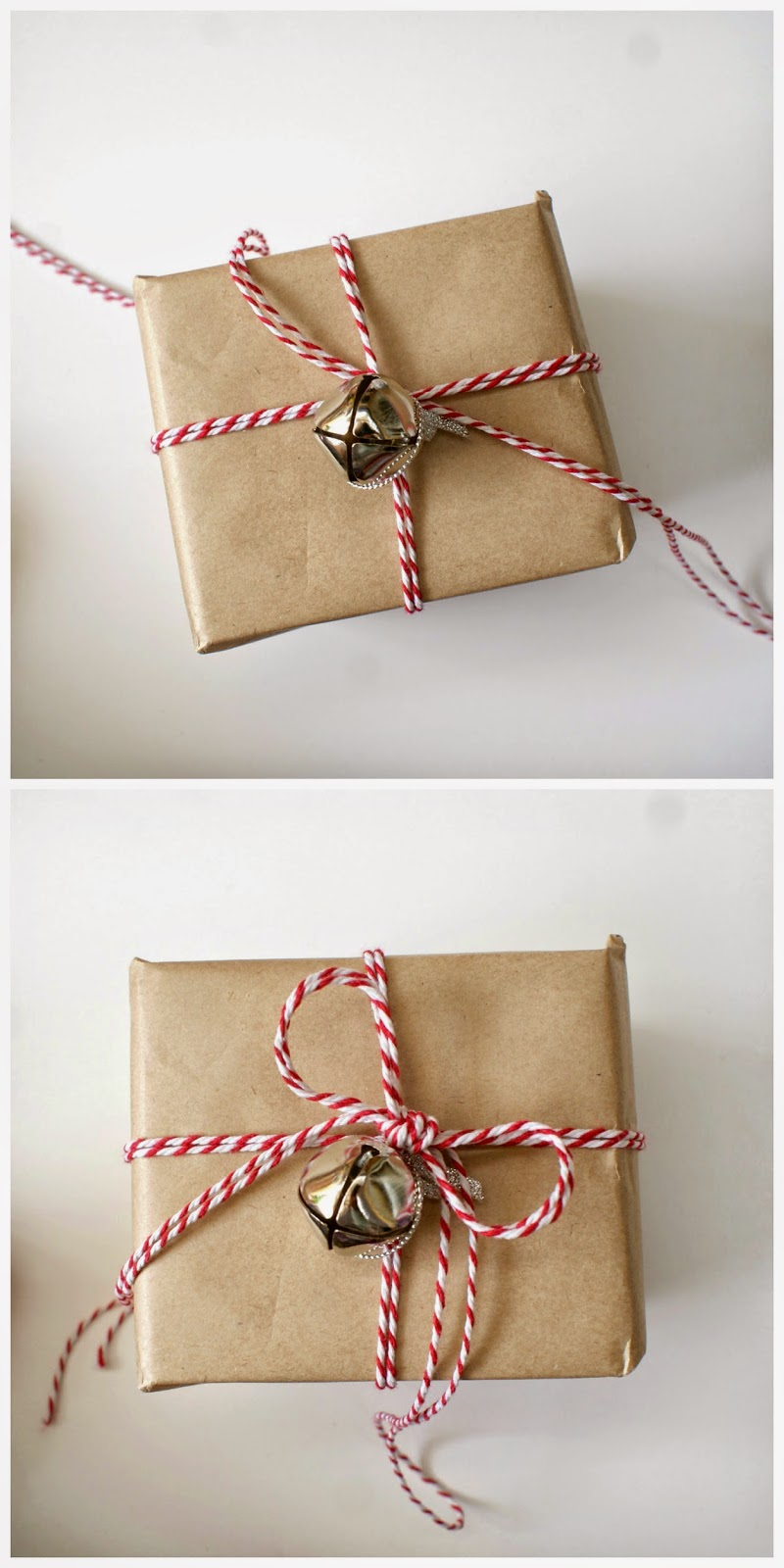 Beautiful Gift Wrapping Ideas on a Budget - Adding Silver Bells and Bakers Twine for a Festive Touch