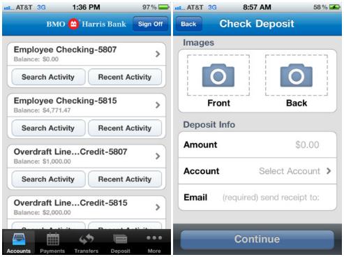 BMO Harris Bank mobile check deposit   insiden