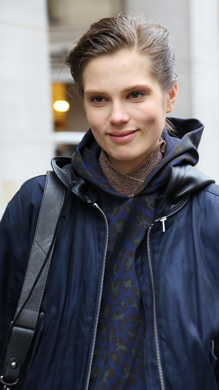 Caroline Brasch Nielsen, outside Barbara Bui Fall 2013