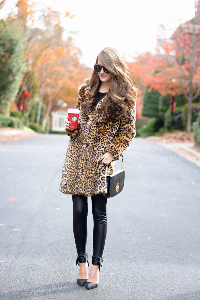 Leopard faux fur coat..