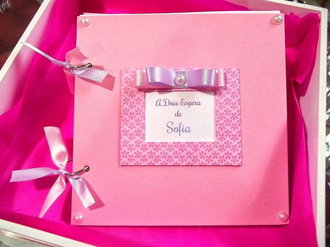 Diário da Gravidez Gestação Rosa Lilás, Álbum Gravidez Scrapbook, menina