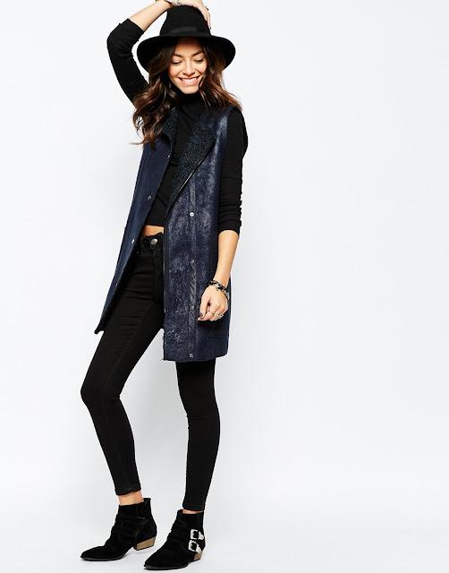 reversible gilet, blue suede long waistcoat,