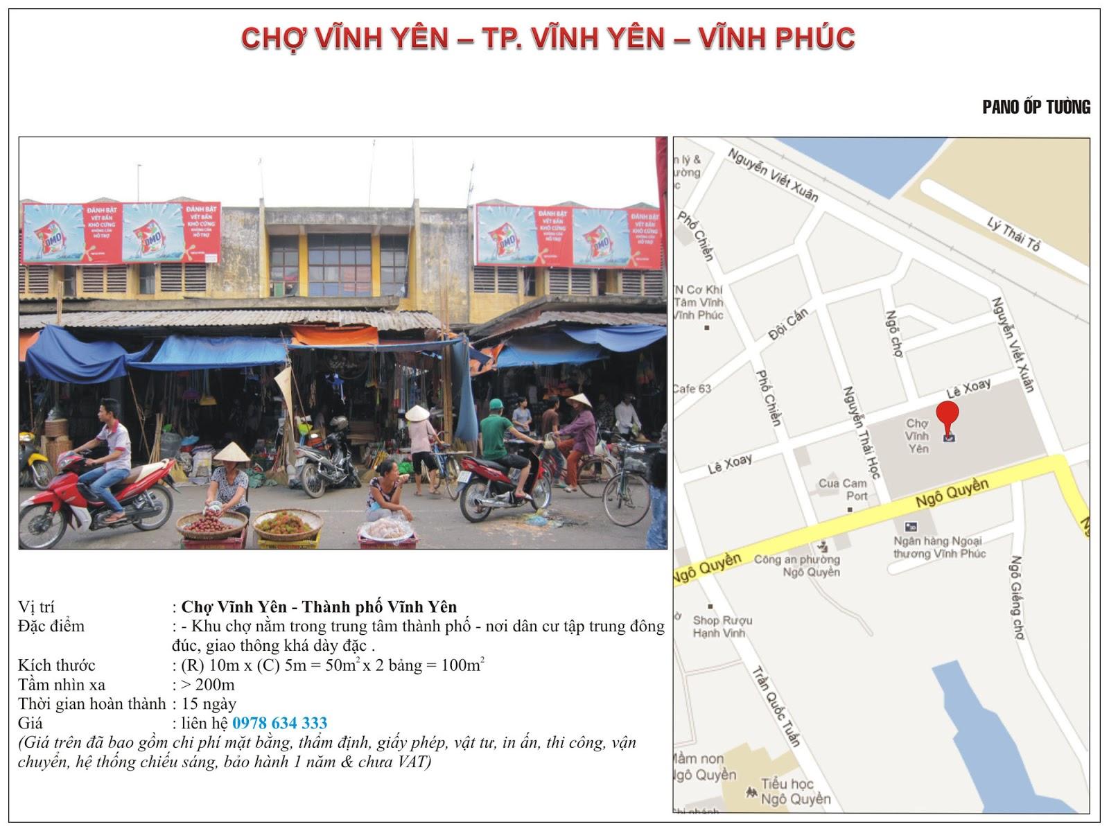 Quảng cáo tại chợ Vĩnh Yên - Vĩnh Phúc