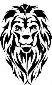 Motif Tato Singa Hitam Putih 4