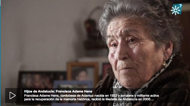 Documental Canal Sur: Francisca Adame Medalla de Andalucía