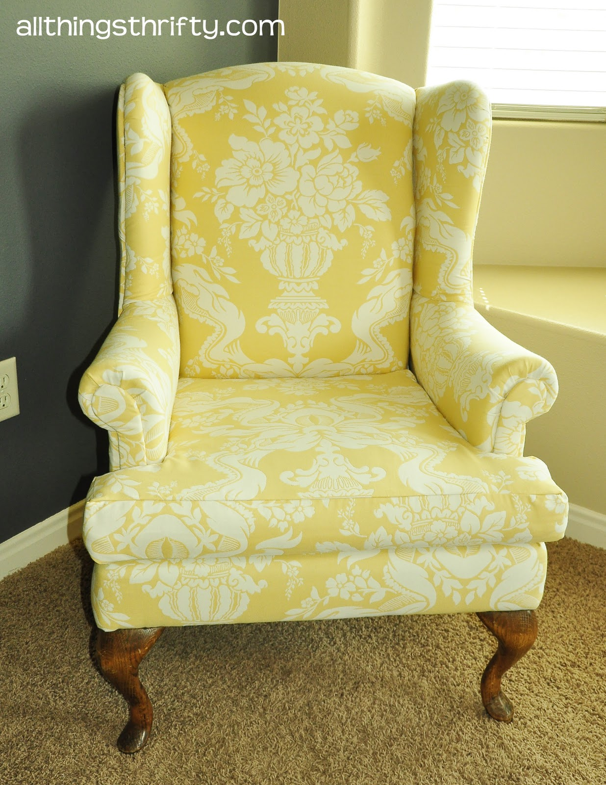 upholstering a wing back chair, upholstery tips | all things thrifty