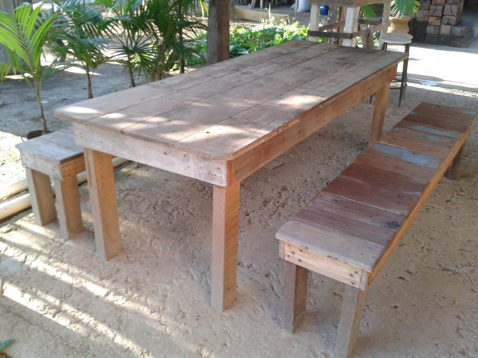 mesa de madeira de demolição #45653A 1600x1200