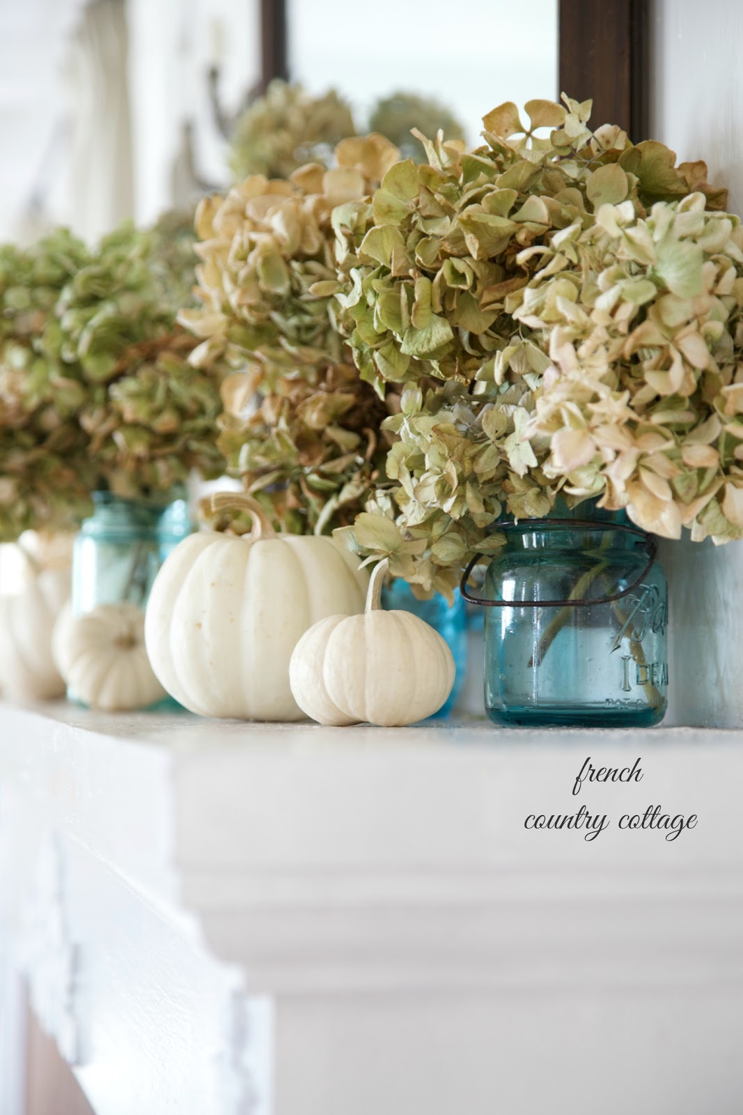 Easy autumn decorating blue jars on the mantel french