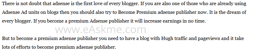 How To Become Premium Adsense Publisher : eAskme