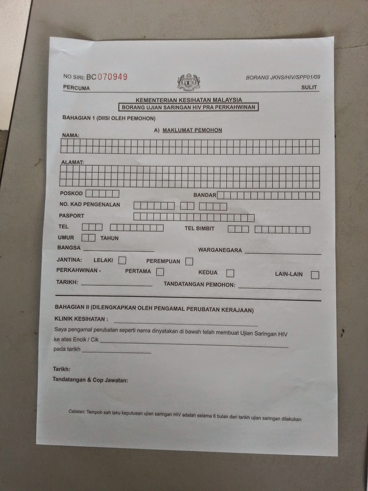 Bace Sini Ye Kat Sini Borang Saringan Hiv Test Pra
