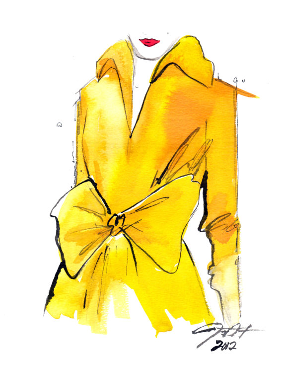 jessica illustration yellow trench coat