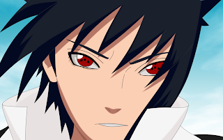 Sasuke with sharingan, while hair blows in the wind