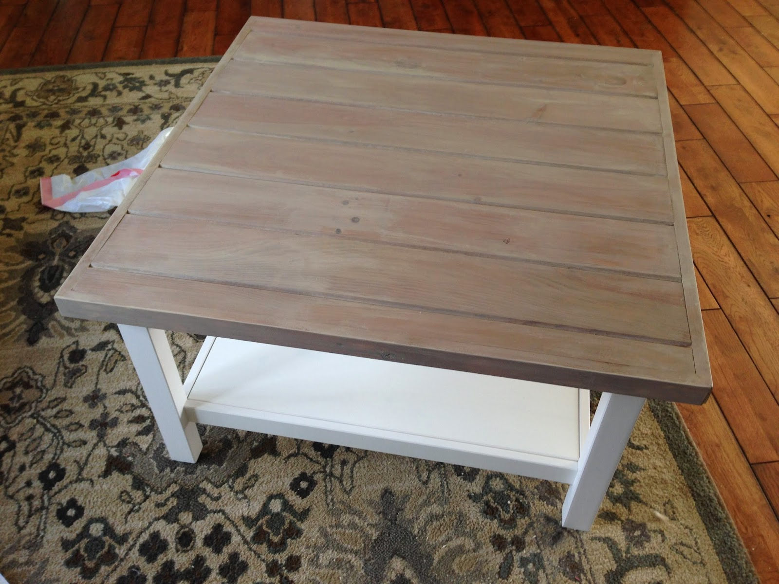 Vinegar and steel wool stain on coffee table planked wood top- www.goldenboysandme.com
