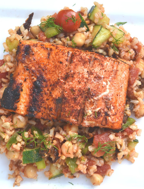 Grilled Salmon Chopped Greek Salad
