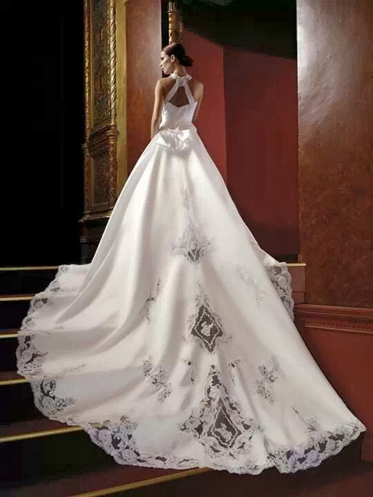 Amazing, Lace Embroidered Long, Modern Wedding Dress