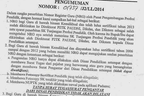 Pengumuman tentang penerbitan NRG bagi guru binaan Kemendikbud.