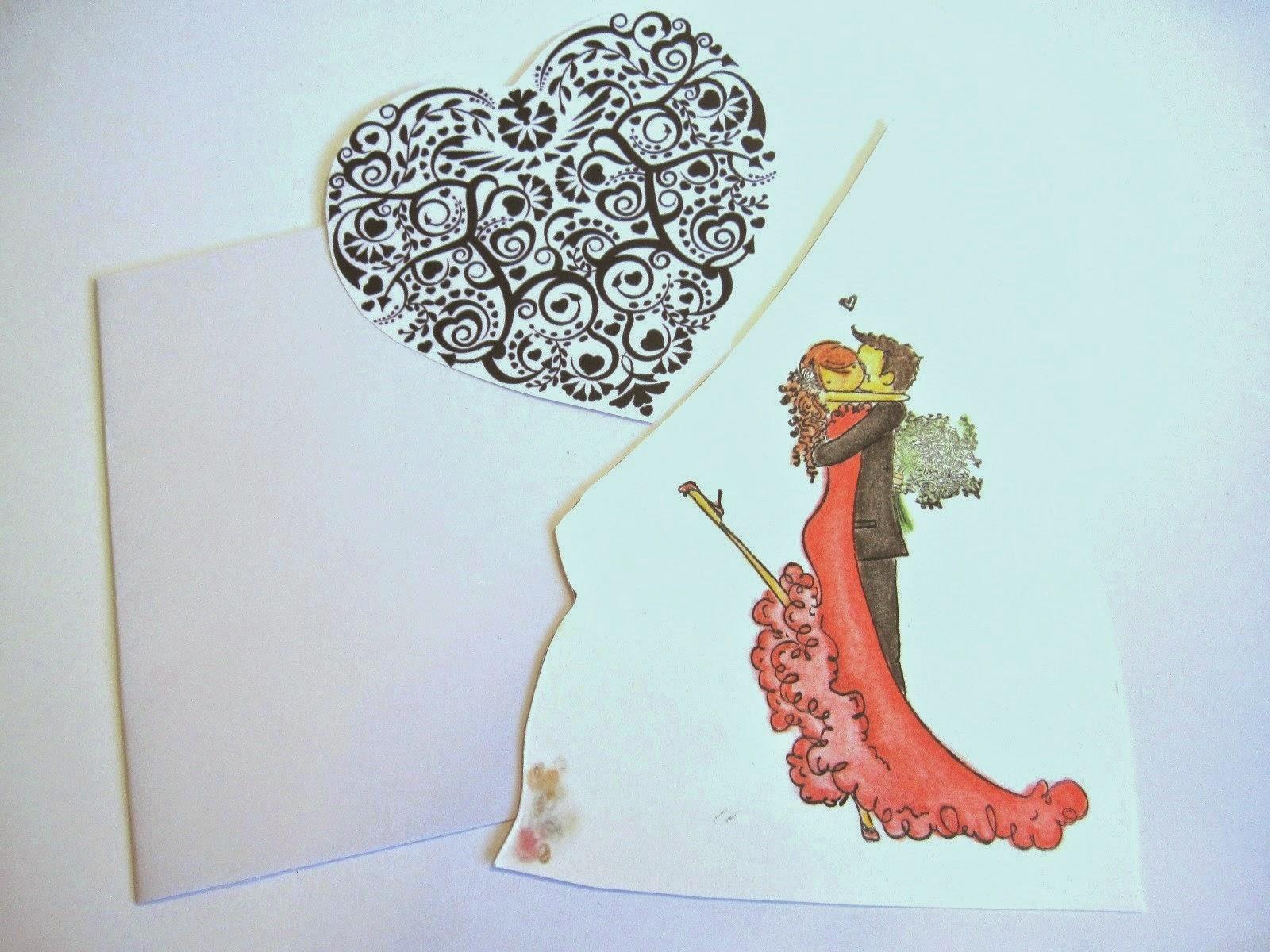 tarjeta blanca, dibujo de corazón negro de filigrana e imagen coloreada de pareja de novios besándose de Stamping Bella