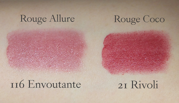 Chanel Envoutante Chanel Rivoli swatch comparison