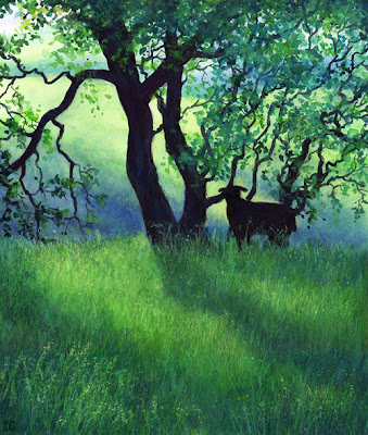 Peak District landscape painting, shady pasture