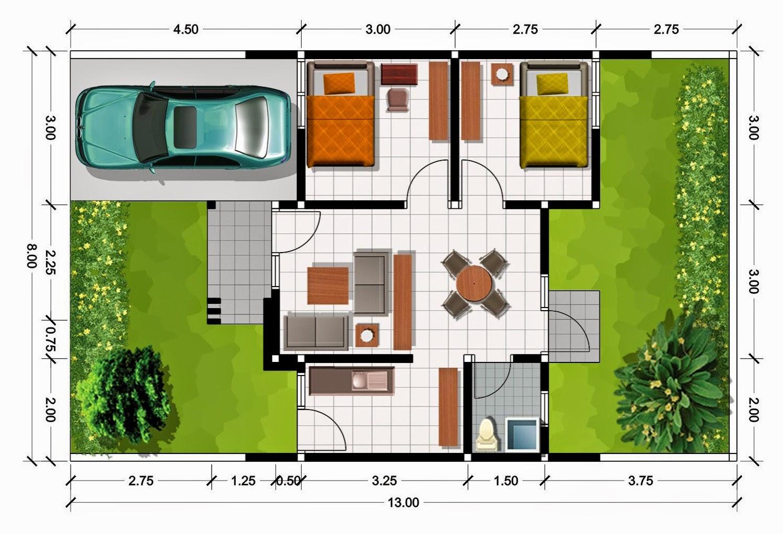 10 desain denah rumah minimalis modern 2 lantai type 45 - Denah Rumah Minimalis Type 36