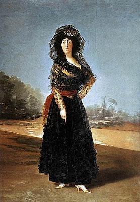La duquesa de Alba vestida de negro de Francisco de Goya, óleo sobre lienzo, 210 × 149 cm