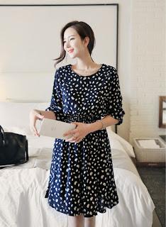 Dress Korea Cantik Black Motif ED7835 Agustus 2015