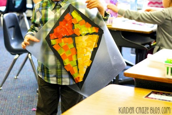 Tissue paper kite decorations made with contact paper. So cute!