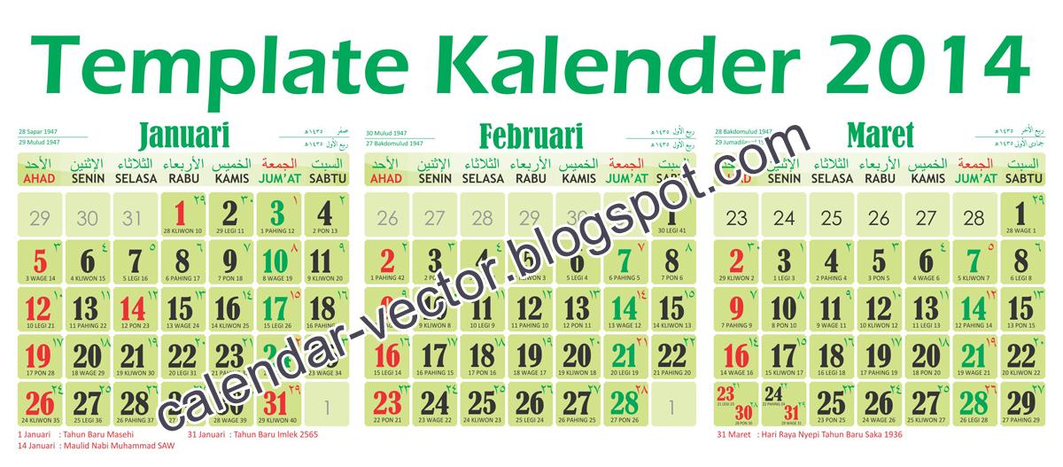 Template Kalender 2014 (MAS-2014-03) dilengkapi kalender Jawa, Pasaran ...