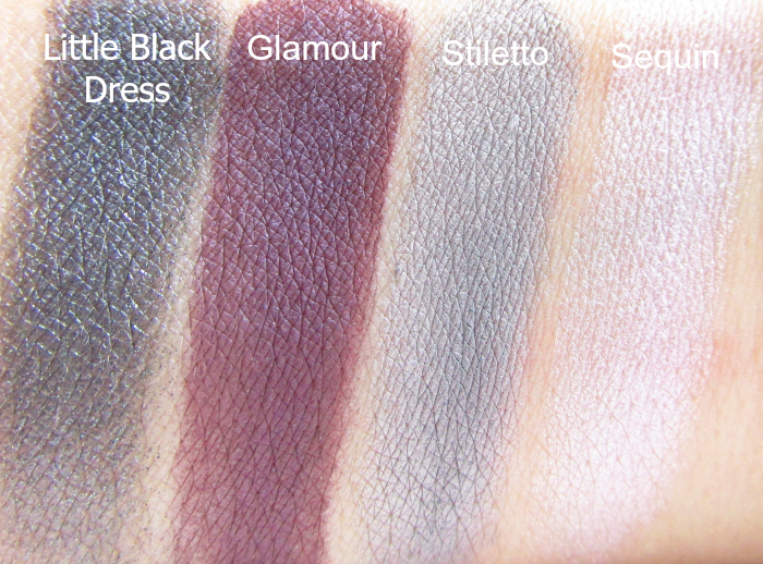 Artistry Little Black Dress Eyeshadow Palette - Swatches feucht - Little Black Dress, Glamour, Stiletto, Sequin