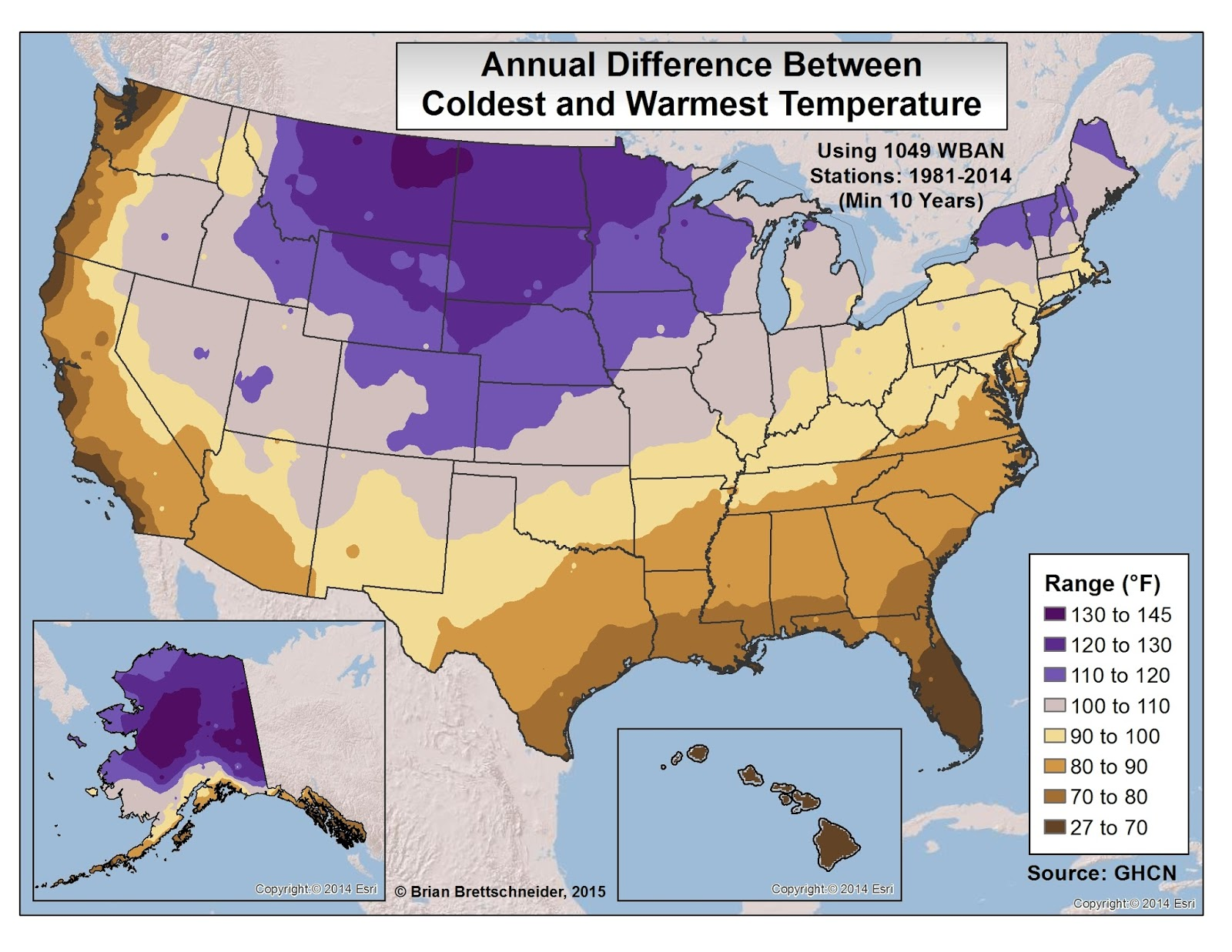 Brian Bs Climate Blog Annual Temperature Extremes - Us average winter temperature map