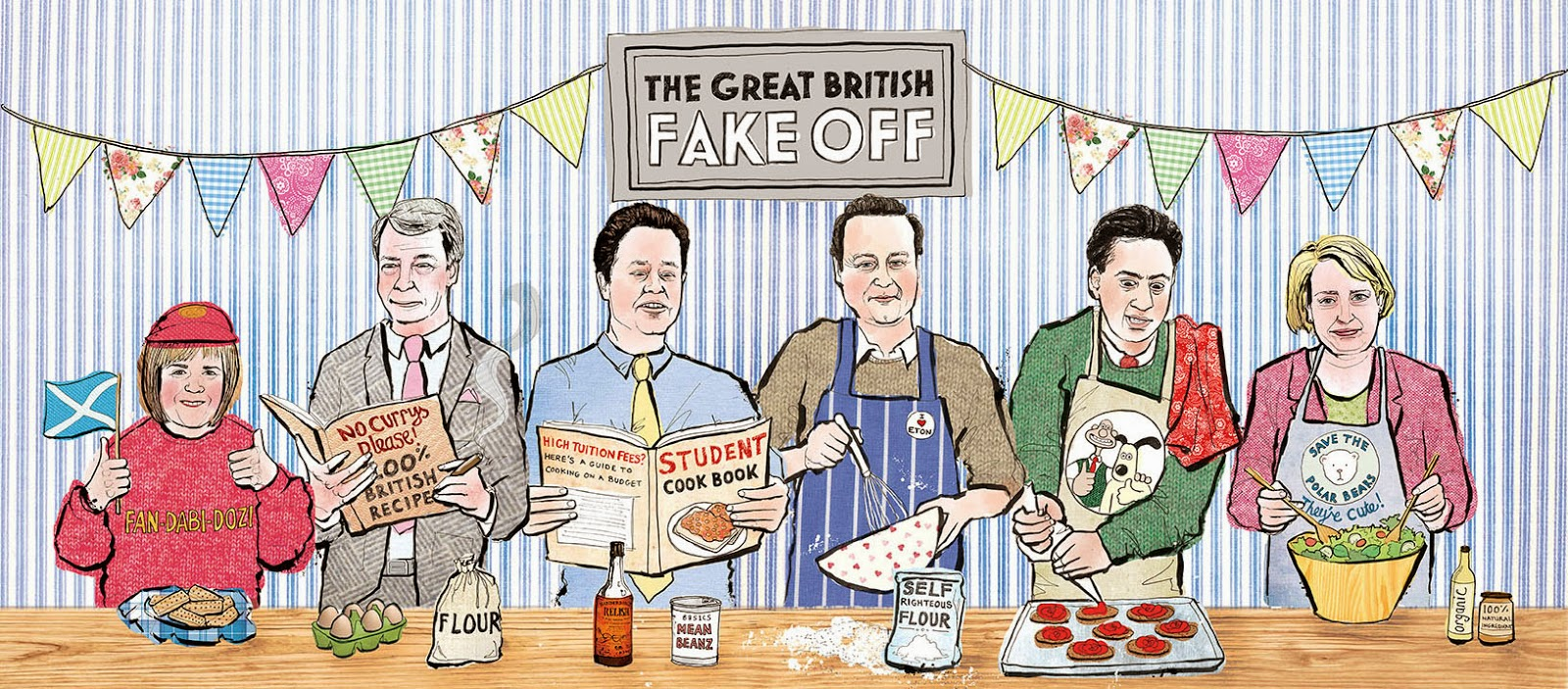 the great british fake off, the great british bake off, illustration, political illustration, politics, general election 2015, ge2015, government, art, lisa maltby, lisa maltby illustration