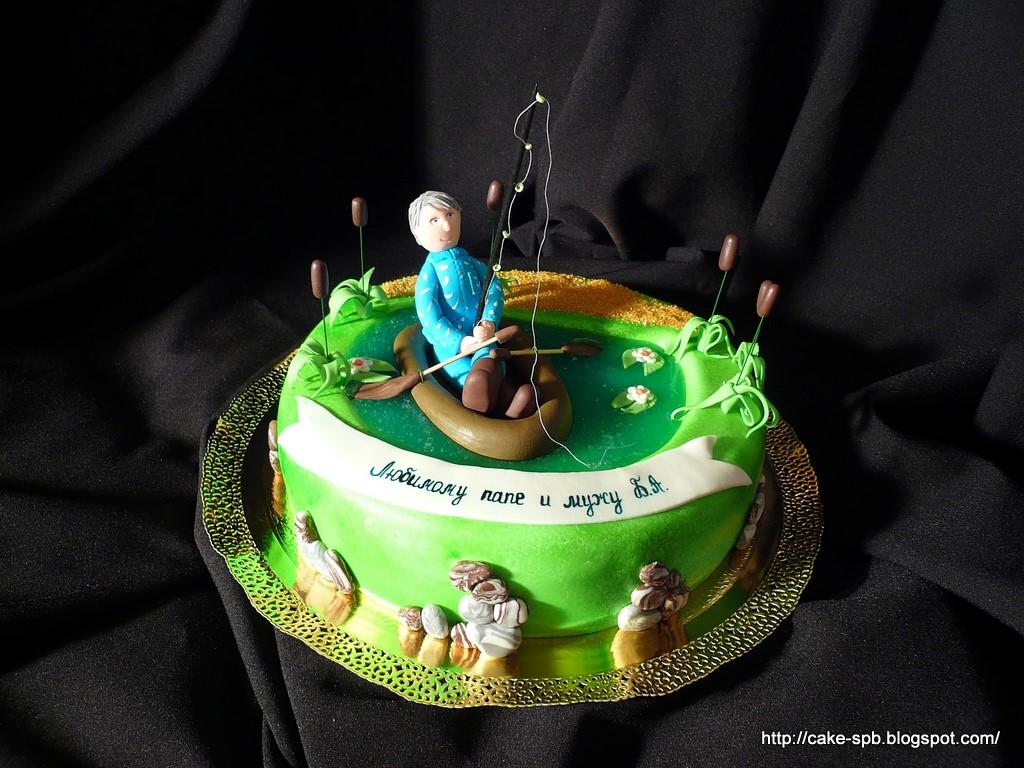Торт с мастики для рыбака