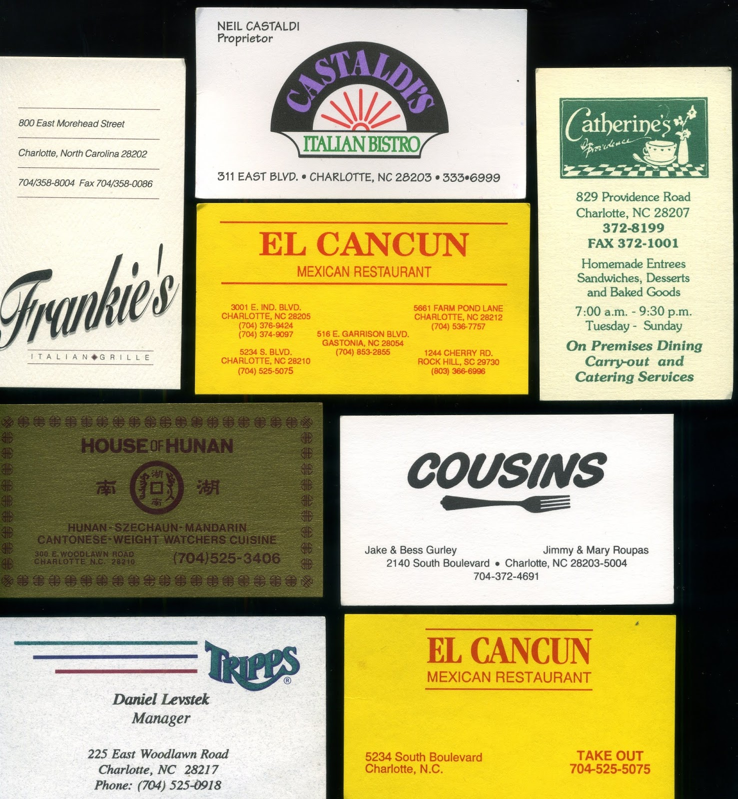 Charlotte eats nice set of business cards of eateries from charlottes past how many do you remember colourmoves