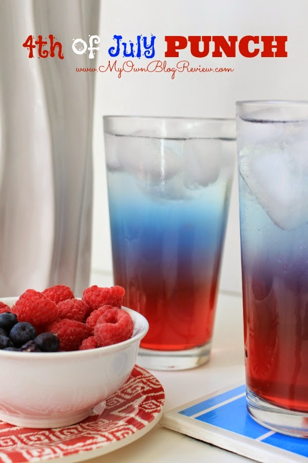 4th of July Punch! Such a fun way to celebrate. Children and adults will all love it. So many different holidays this could work with! on www.MyOwnBlogReview.com