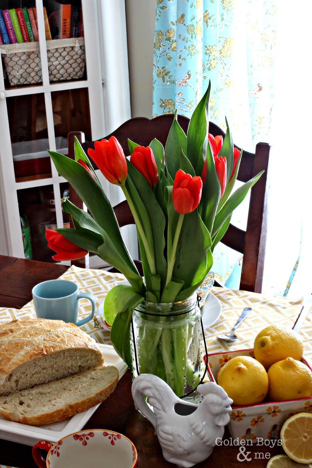 Spring tulips in dining room-www.goldenboysandme.com