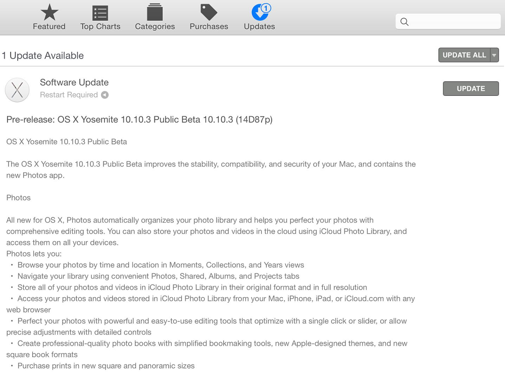 Mac OS X Yosemite 10.10.3 Public Beta (14D87p) Features and Changelog