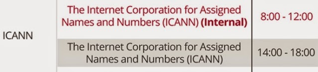graphic of WCIT 2014 Program Schedule--ICANN event, Wednesday, October 1, 2014